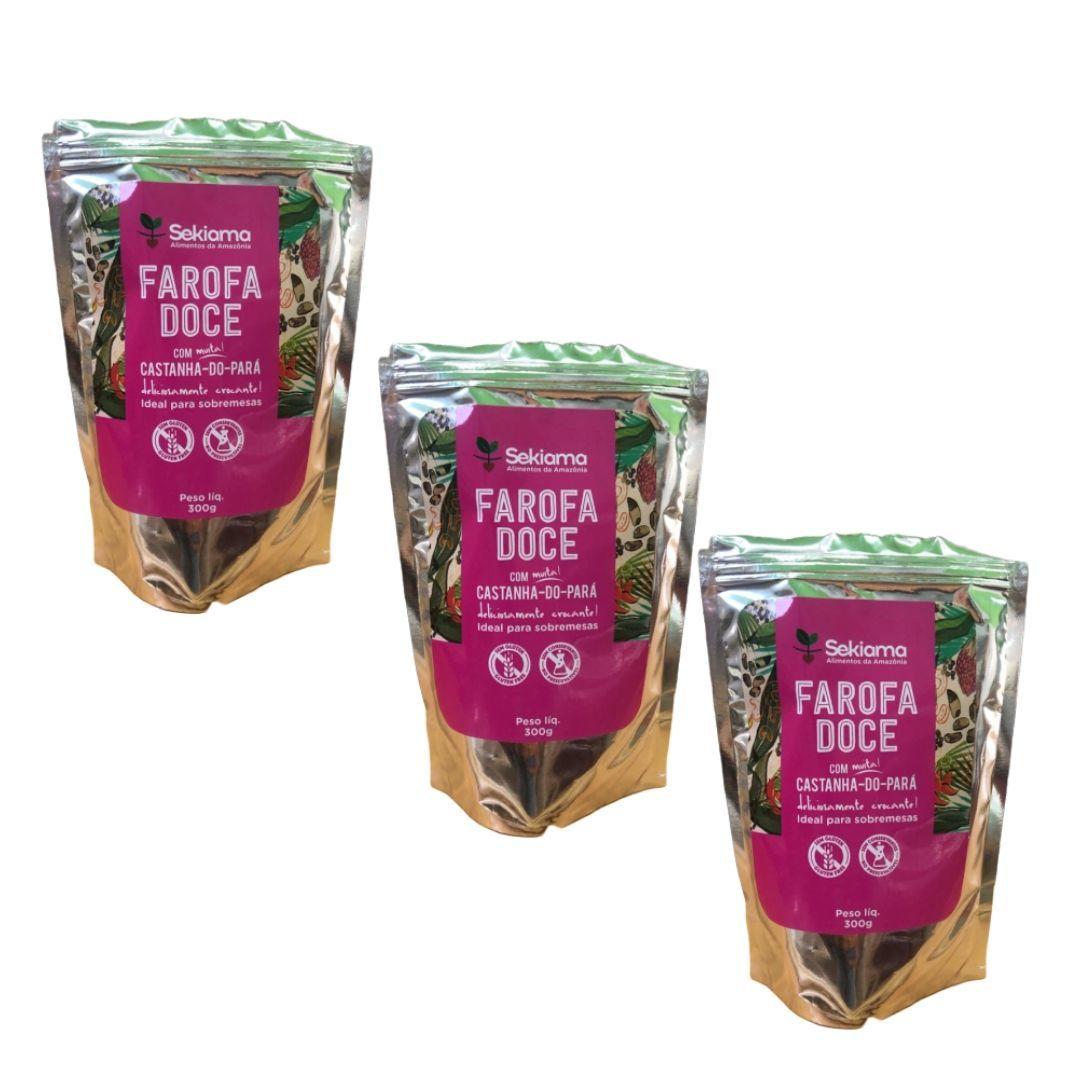 Farofa Func Doce com Castanha do Pará Sekiama 300g Kit com 3