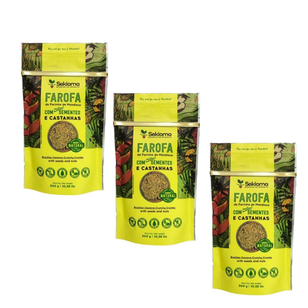 Farofa Funcional Sementes e Castanhas Sekiama 300g Kit c 3