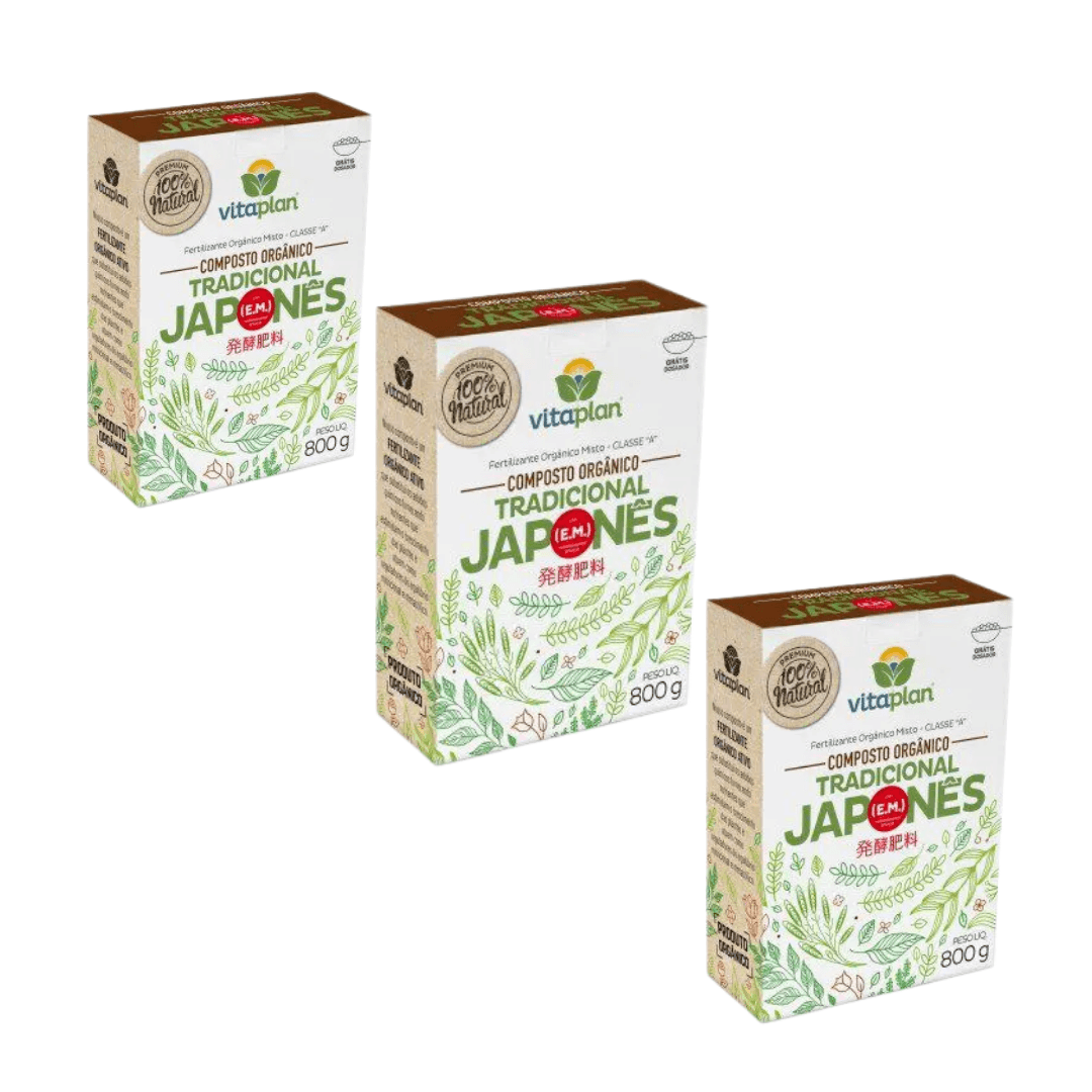 Fertilizante Japonês 100% Natural Nutriplan 800gr Kit com 03
