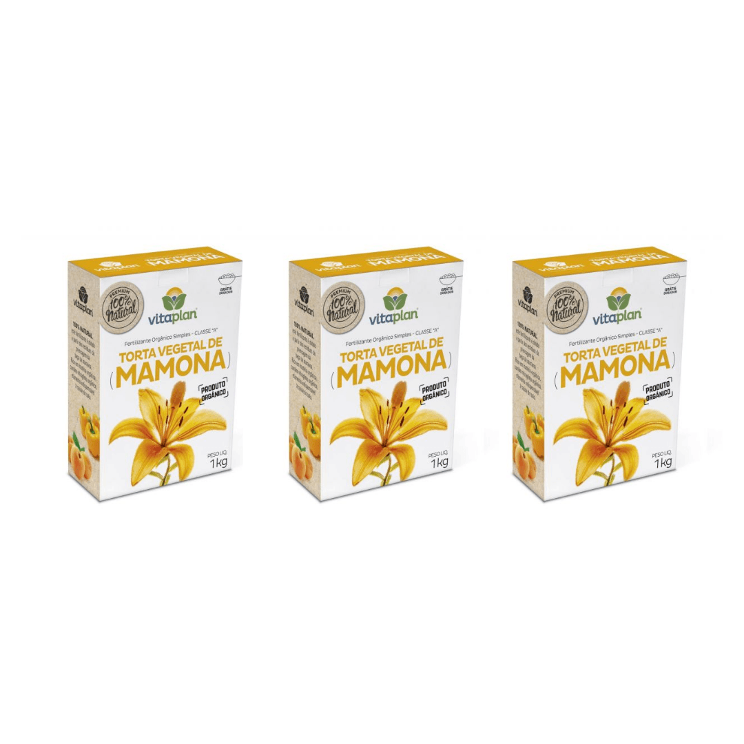 Fertilizante Torta de Mamona Nutriplan 1kg Kit com 03