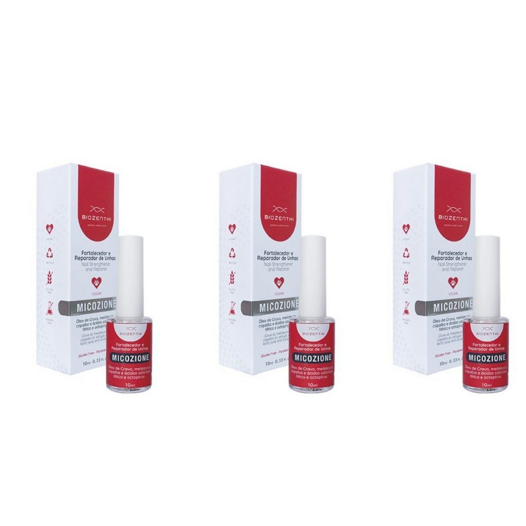 Fortalecedor Rep Unhas Micozione Veg Biozenthi 10ml KIT c/ 3