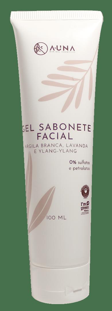 GEL SABONETE FACIAL A-UNA - com Argila Branca, Lavanda e Ylang-Ylang - 100ml