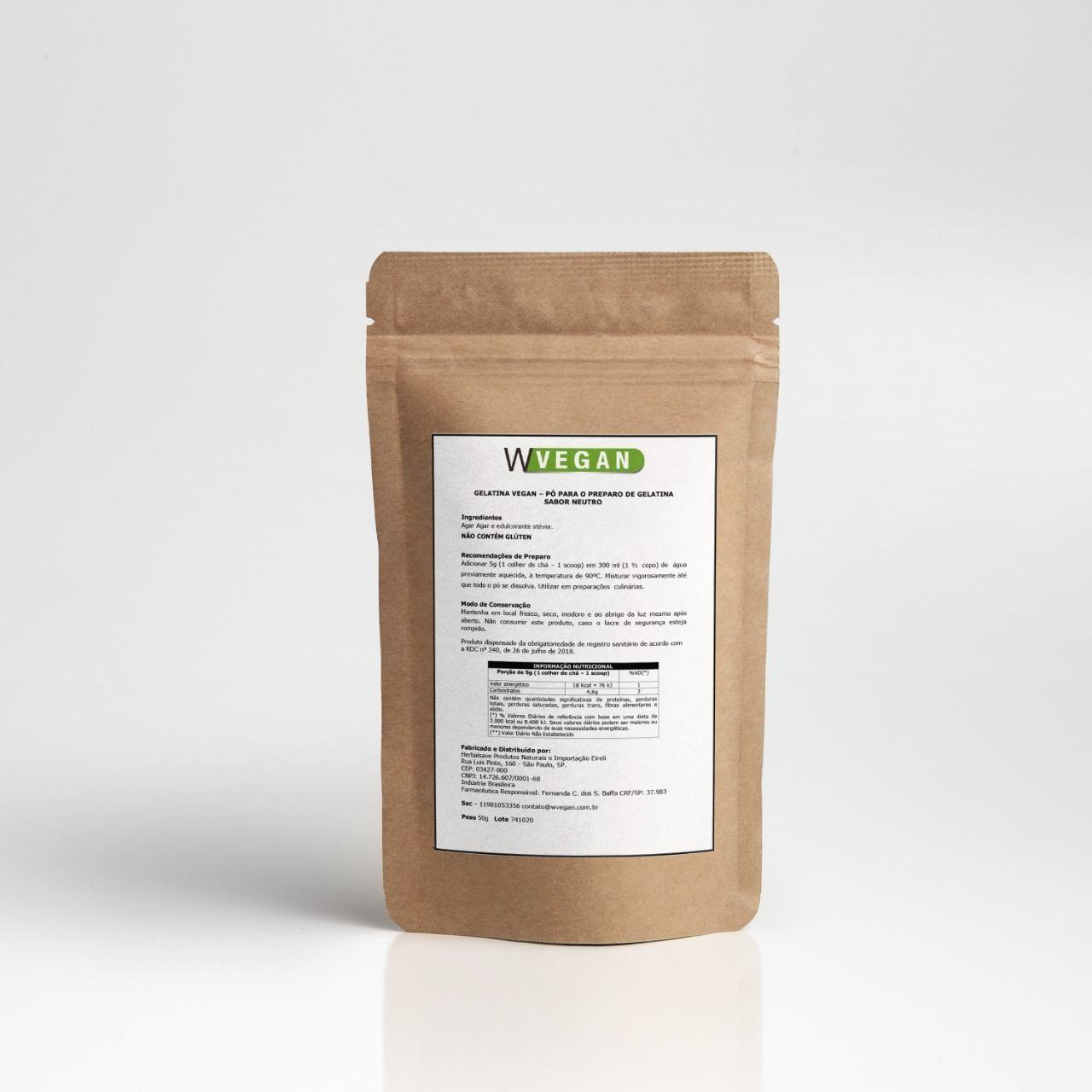Gelatina Vegan 50g - Sem Sabor