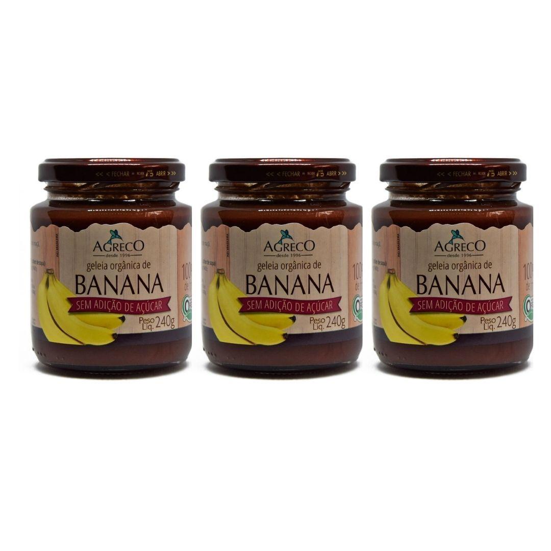 Geleia de Banana Orgânica Sem  Açúcar Agreco 240g Kit com 3