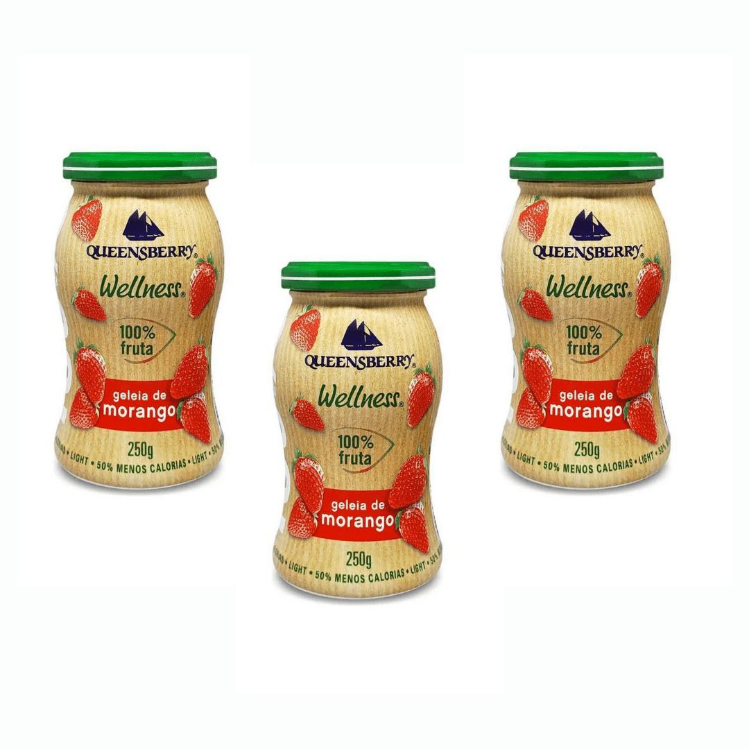 Geleia de Morango 100% Fruta Queensberry 250g Kit com 3