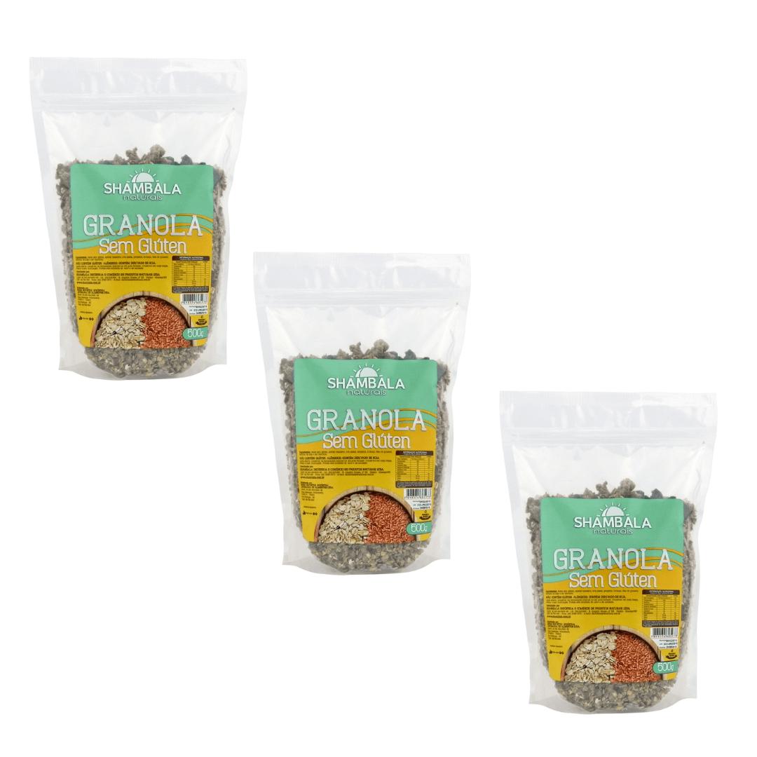 Granola Sem Gluten Shambala 500g Kit com 3