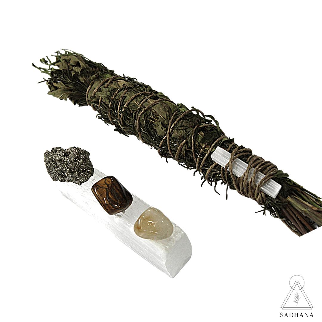 Incenso Bastão Sinergia 5 Poderes + Kit Pedras da Prosperidade Sadhana