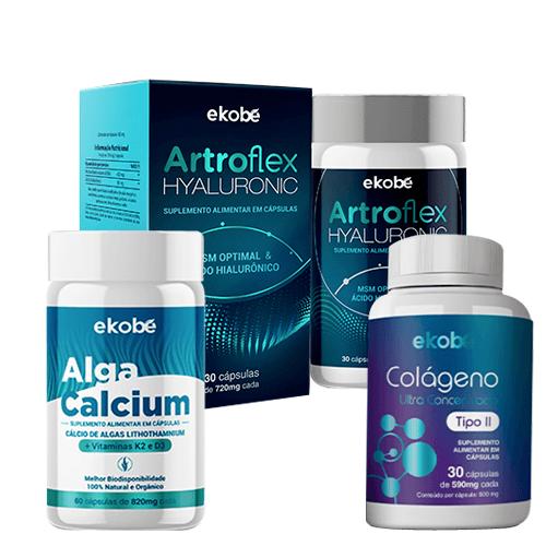 Kit Alga Calcium + Artroflex Hyaluronic + Colágeno Tipo II - Ekobé