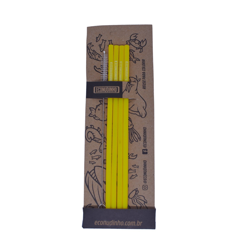 Kit E-Conudinho de Silicone Amarelo com 04 Unidades + Escovinha - Econudinho