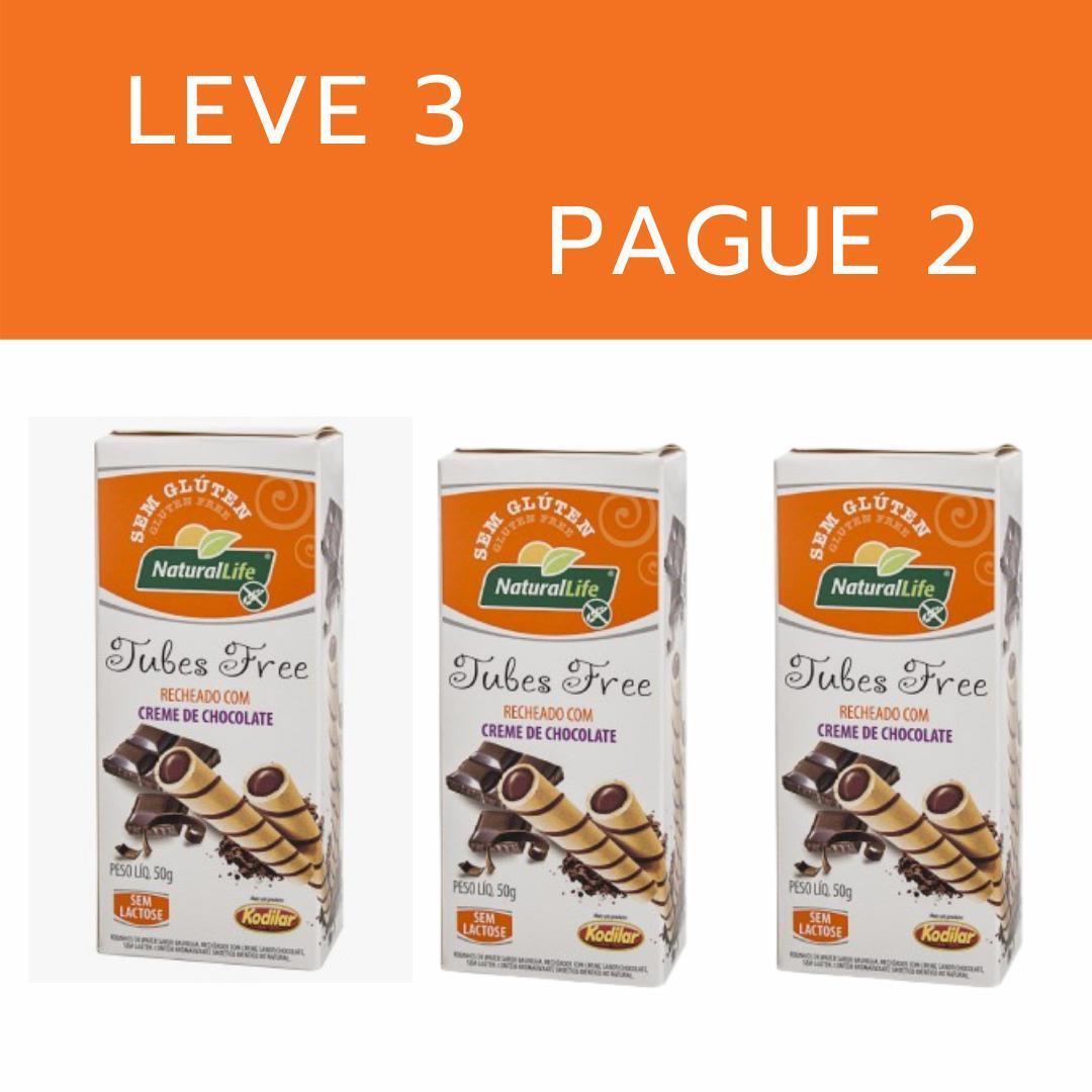 Kit leve 3 pague 2 - Canudinho tubes free creme de chocolate Natural Life 50g