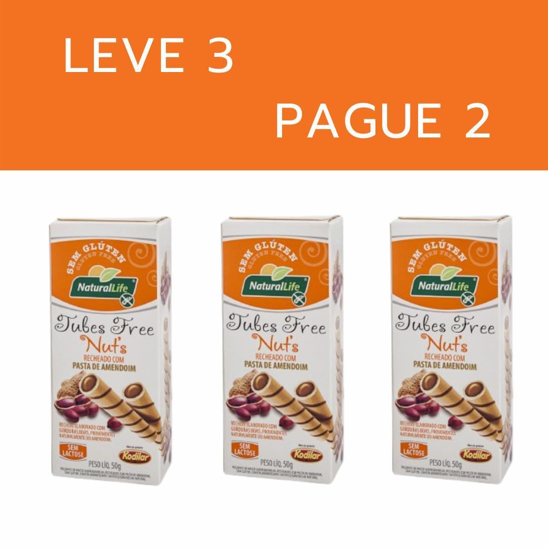 Kit leve 3 pague 2 - Canudinho tubes free pasta de amendoim Natural Life 50g