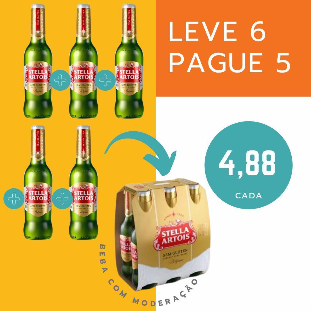 Kit leve 6 pague 5 - Cerveja sem glúten Stella Artois puro malte 330ml