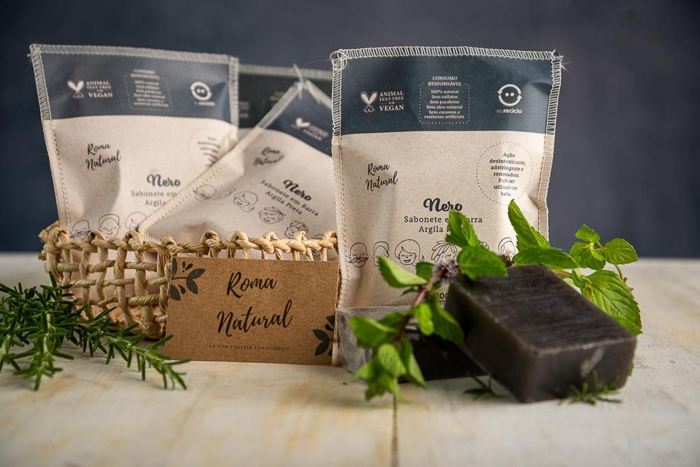 Kit Natural e Vegano Roma Natural: 3 Sabonetes Argila Negra