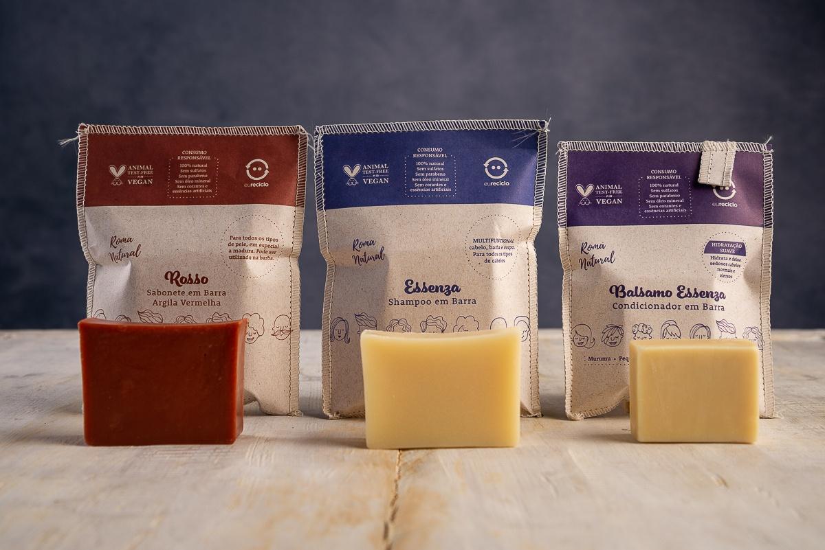 Kit Shampoo e Condicionador em Barra & Sabonete Argila Vermelha