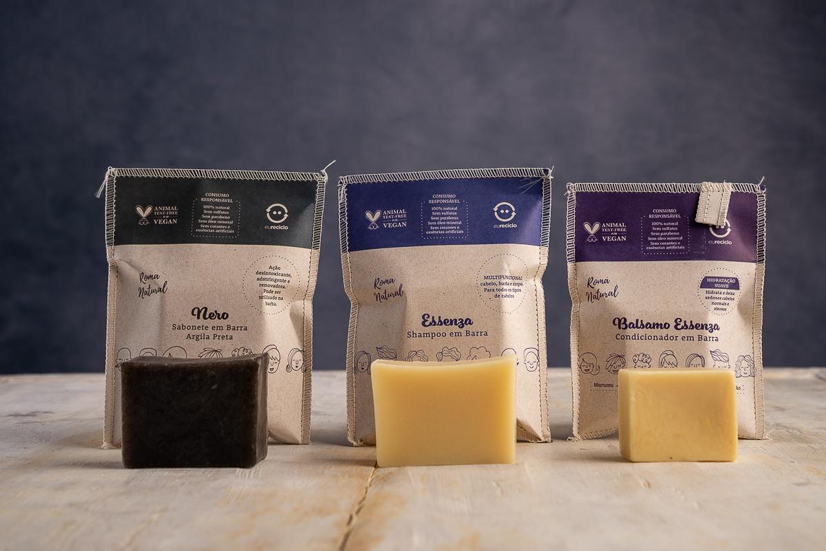 Kit Shampoo e Condicionador em Barra & Sabonete Argila Preta
