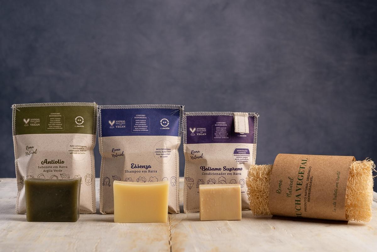 Kit Shampoo e Condicionador em Barra & Sabonete Argila Verde