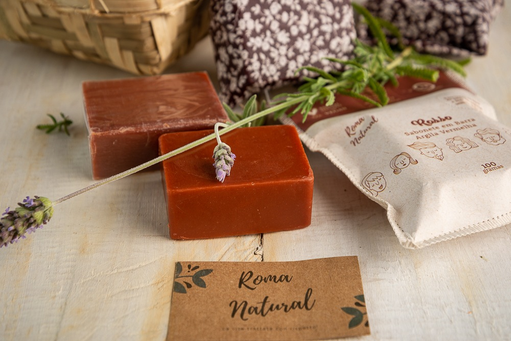 Kit Natural e Vegano Roma Natural: 3 Sabonetes Argila Vermelha