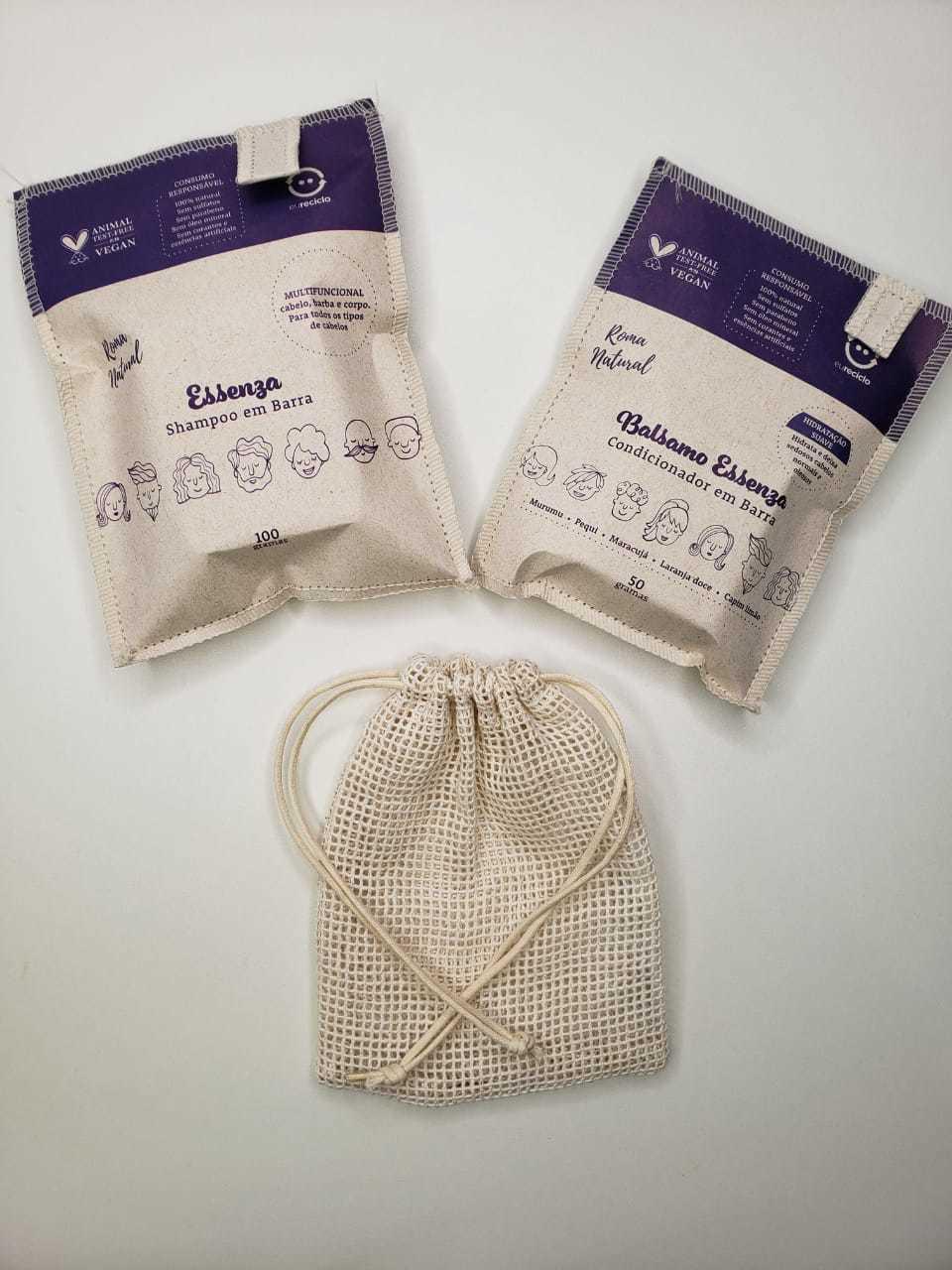Kit Roma: Shampoo, Condicionador e Saquinho de algodão