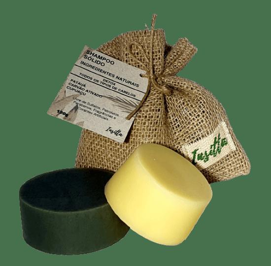 Shampoo Sólido de Patauá, Cupuacú e Carvão 120g +  Condicionador Sólido de Cupuaçu, Pracaxi e Laranja Doce 70g  INSITTA