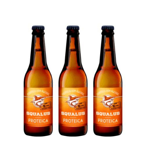 Lançamento - Cerveja Squalus Sem Álcool Proteica - 3 Un. Long Neck 355ml - Argentina