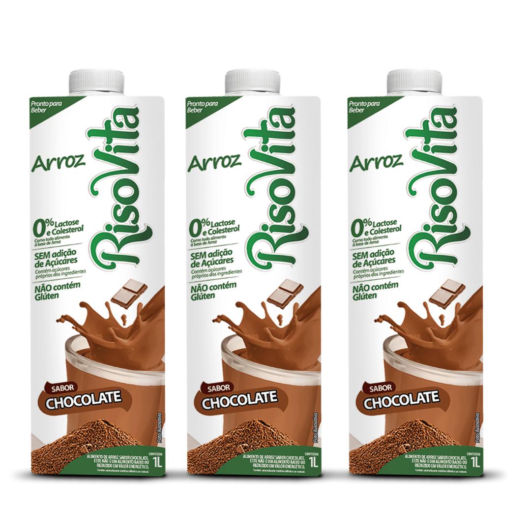 Leite de Arroz com Chocolate Risovita 1l Kit com 3