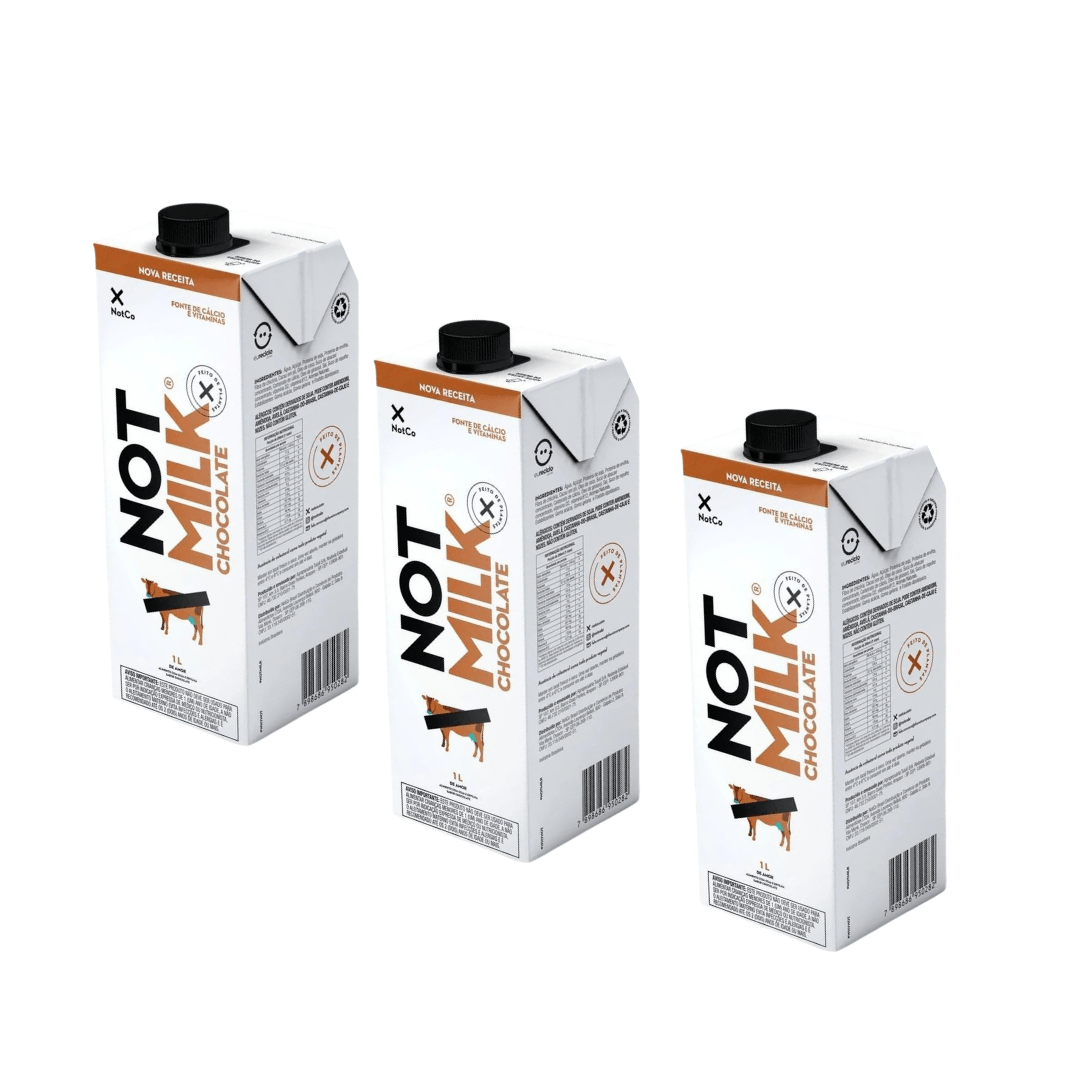 Leite Vegetal Not Milk de Chocolate 1L – NotCo Kit com 3