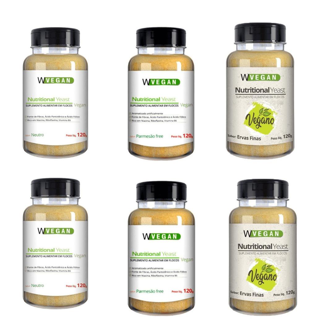 Levedura Nutricional Vegana em Flocos 3 Sabores WVegan 120g - Kit com 6