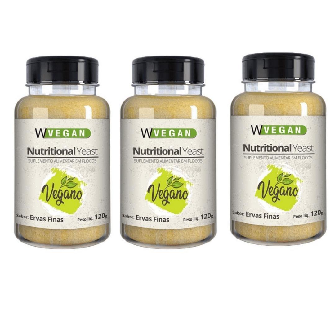 Levedura Nutricional Vegana em Flocos Sabor Ervas Finas WVegan 120g - Kit com 3