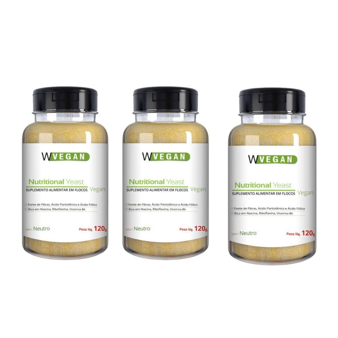 Levedura Nutricional Vegana em Flocos Sabor Neutro WVegan 120g - Kit com 3