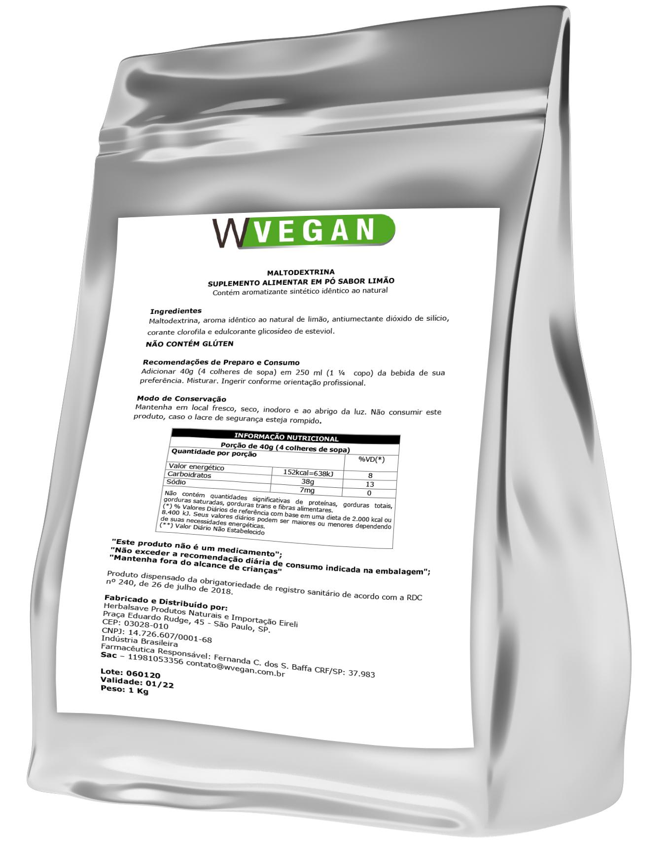 Maltodextrina 1kg Sabor Limao Embalagem Refil WVegan