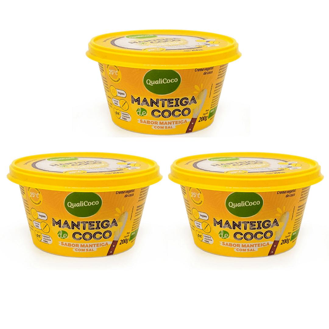 Manteiga de Coco Sabor Manteiga com Sal QualiCoco 200g Kit com 3