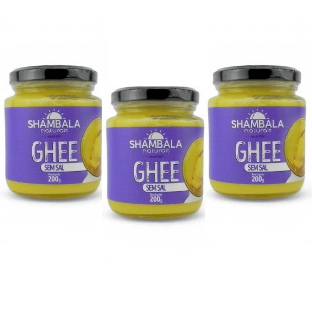 Manteiga Ghee Tradicional Sem Sal - Shambala 200g Kit com 3