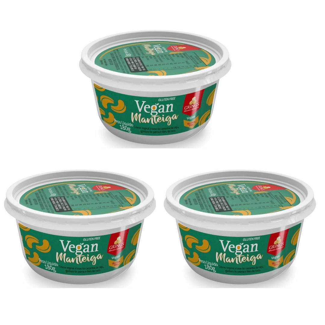Manteiga Vegana Com Sal Grings 180g Kit com 3