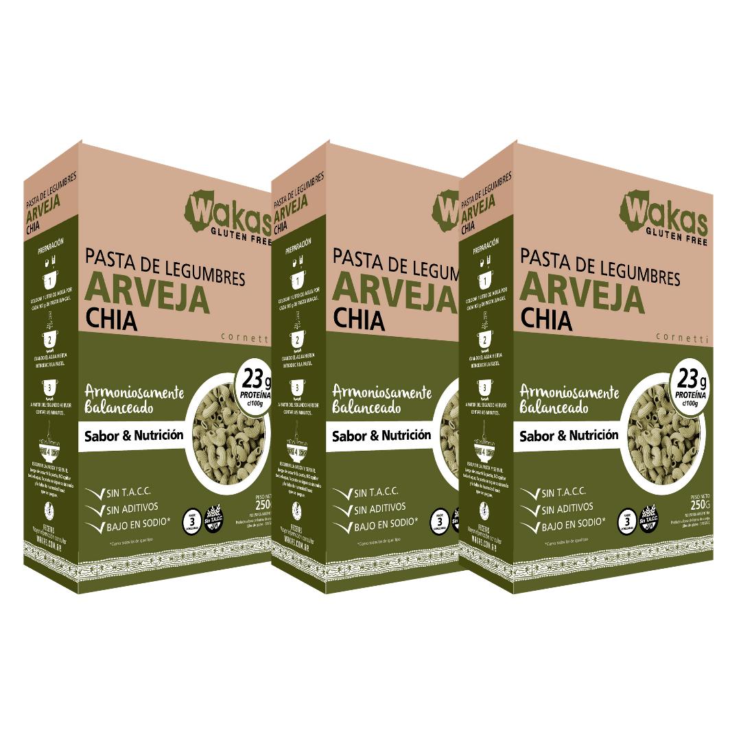 Massa de Legumes Arvejas Wakas (Ervilha) 250g Kit com 3
