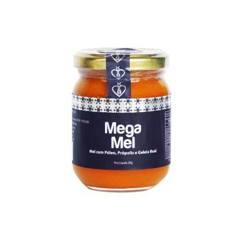 """Mega Mel 230g Mel Puro com Pólen, Extrato de Própolis Verde """"Extra Green"""" (Tipo exportação) e Geleia Real HerboMel Natural"""