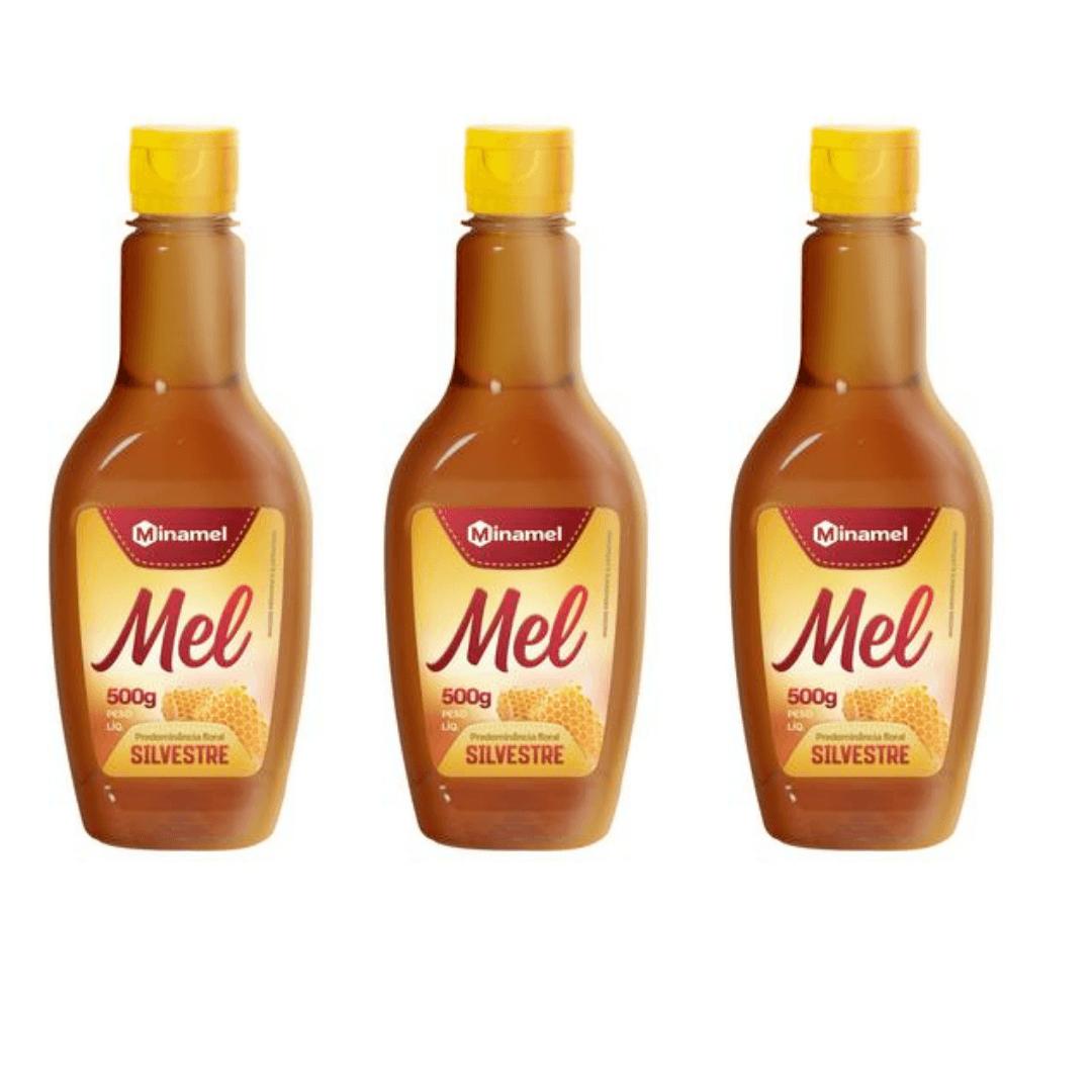 Mel Silvestre Bisnaga Pet Minamel 500g Kit com 03