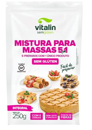 Mistura para massas 5 em 1 integral Vitalin 250g