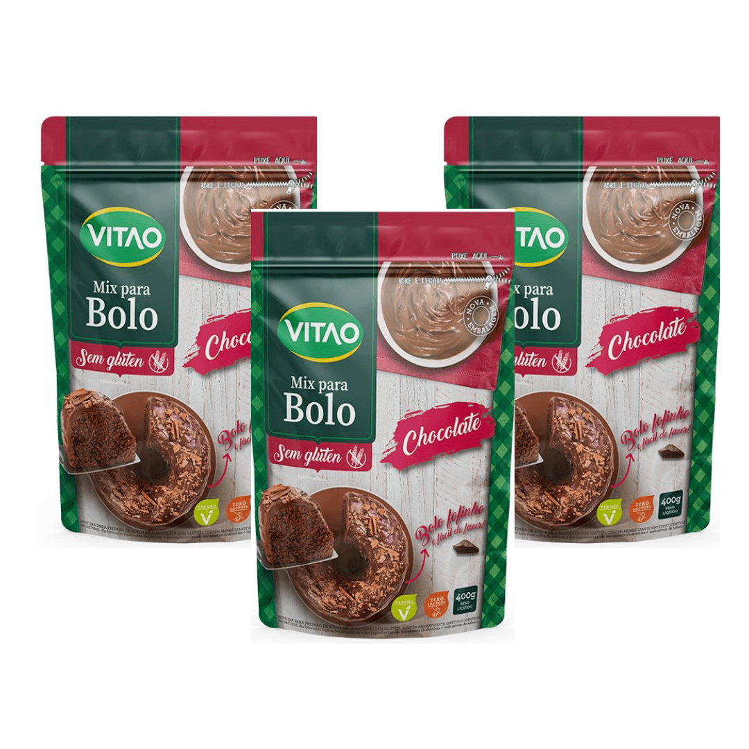 Mix Bolo Sem Glúten Chocolate Vitao 400g Kit com 3