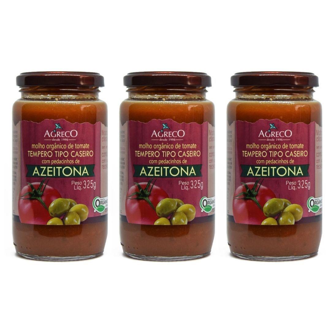 Molho de Tomate Com Azeitona Orgânico Agreco 325g Kit com 3