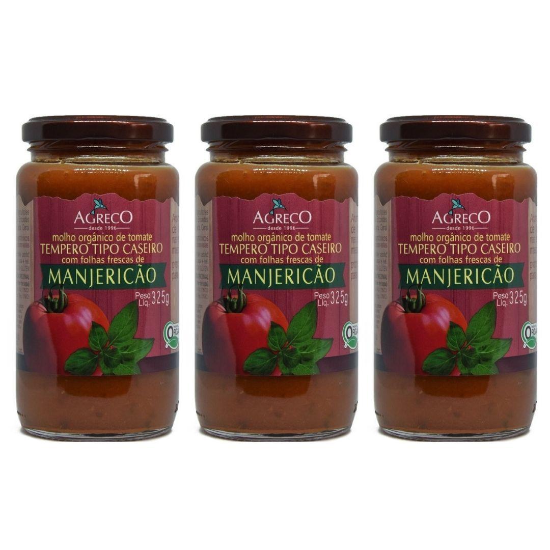 Molho de Tomate Com Manjericão Orgânico Agreco 325g Kit com3