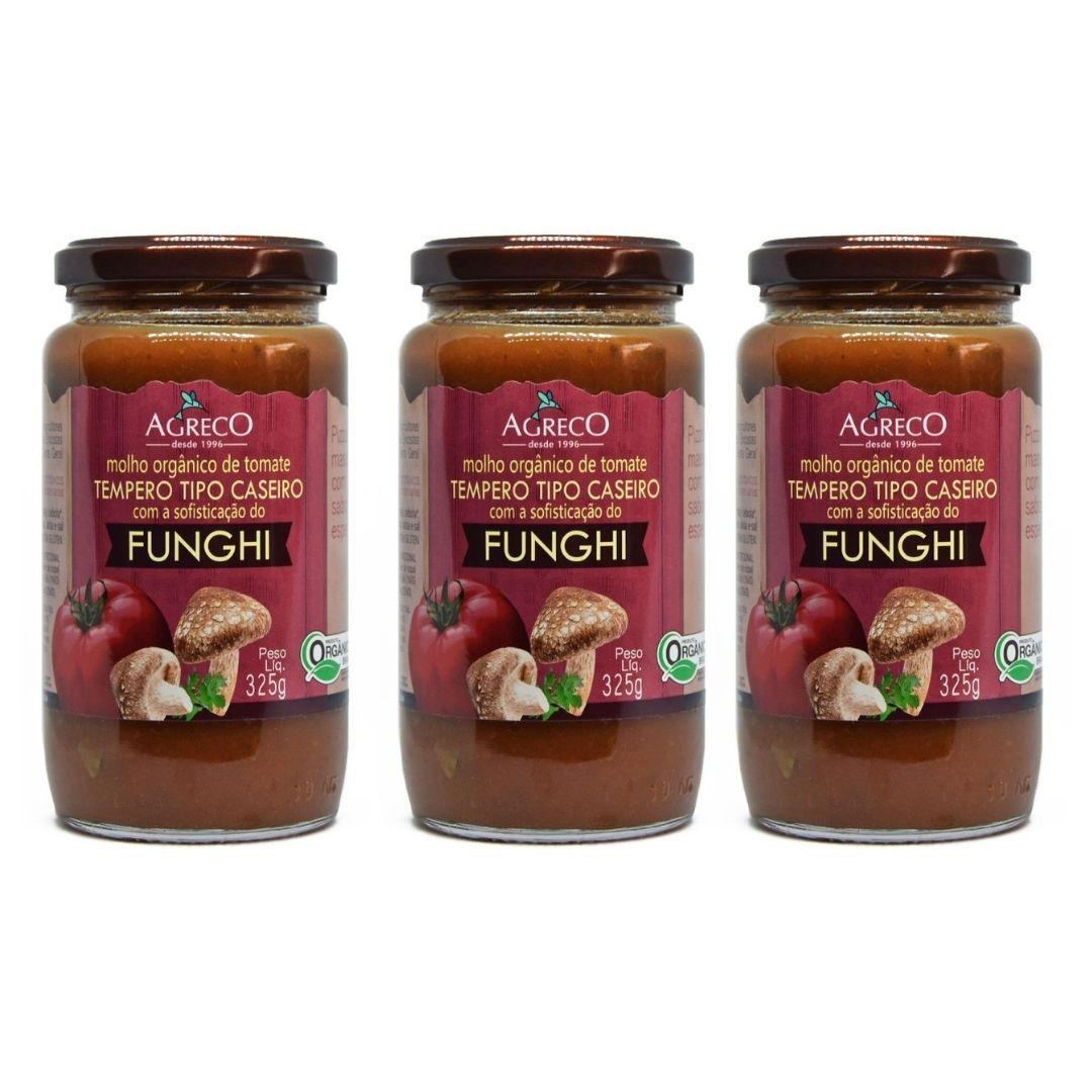 Molho de Tomate de Funghi Orgânico Agreco 325g Kit com 3