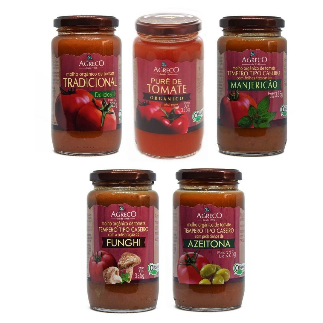 Molho de Tomate Orgânico Mix de Sabores Agreco 325g Kit com 5