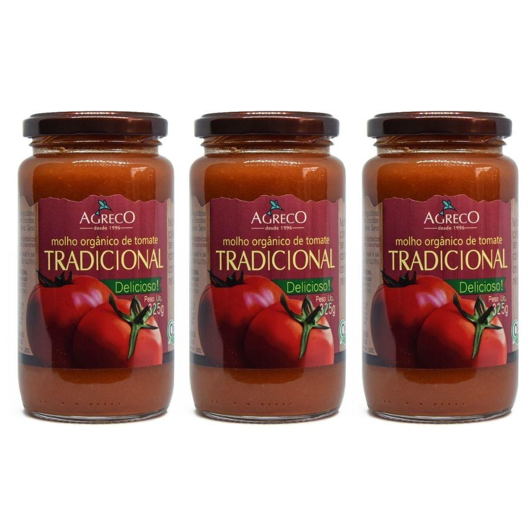 Molho de Tomate Tradicional Orgânico Agreco 325g Kit com 3