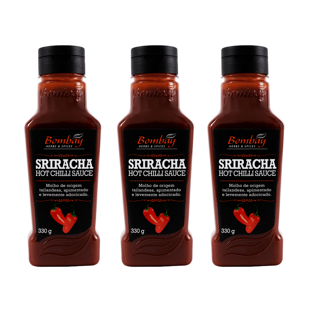 Molho Sriracha Hot Chili Sauce 330g Bombay Kit com 03