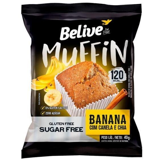 Muffin Banana com Canela e Chia sem açúcar Belive 40g