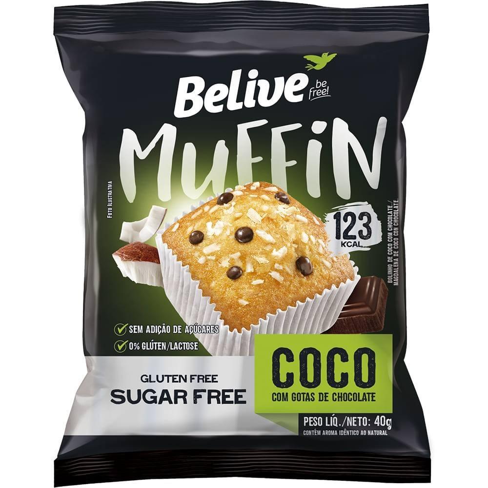 Muffin Coco com Gotas de chocolate sem açúcar Belive 40g