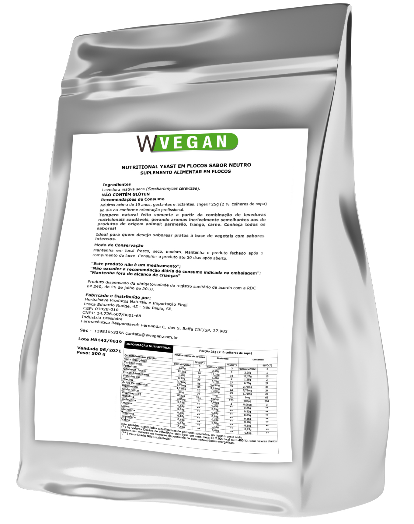 Nutritional Yeast Levedura em Flocos 500g ER WVegan - Neutro