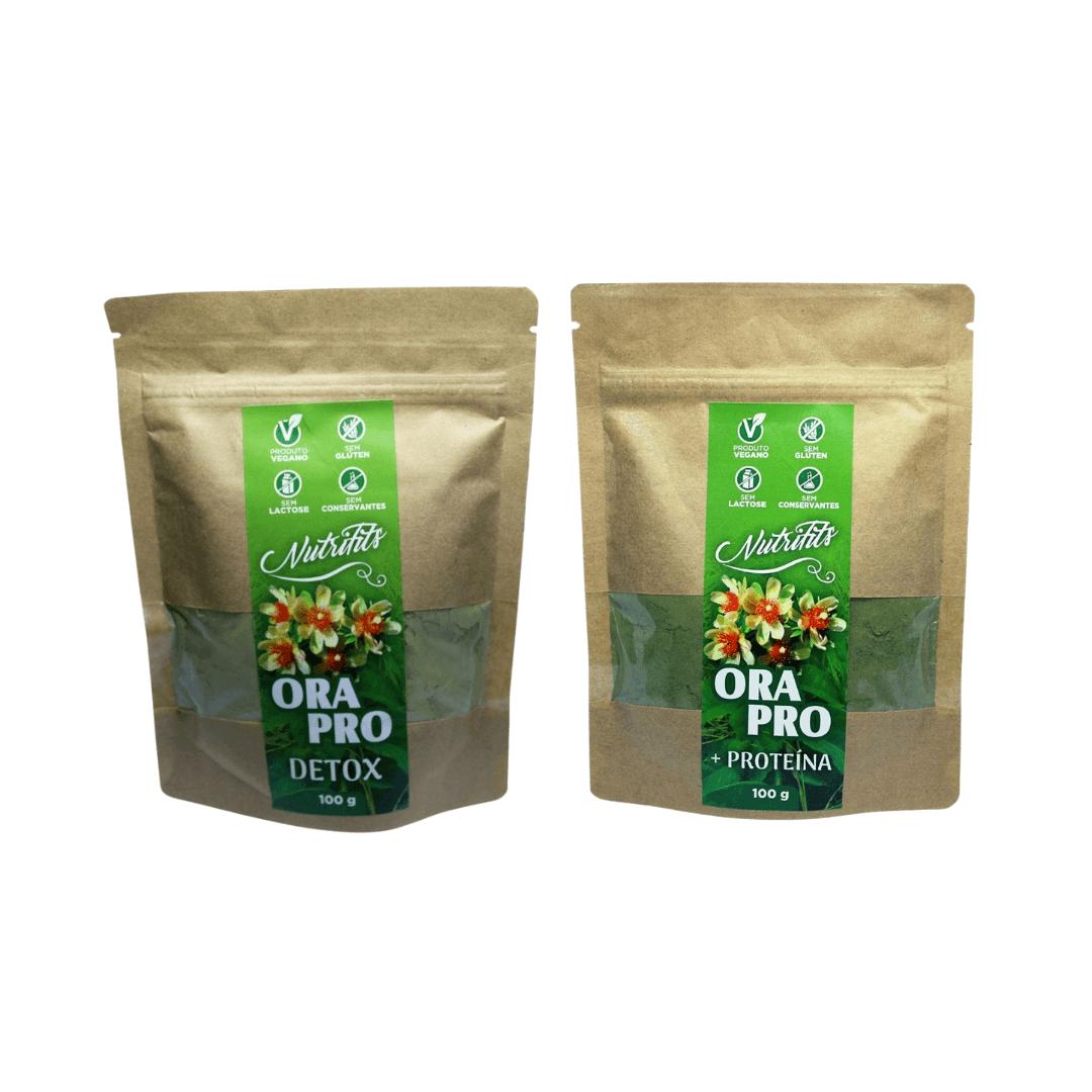 Ora-Pro-Nóbis em Pó Detox Abacaxi Nutrifits 100g + Proteina kit com 2