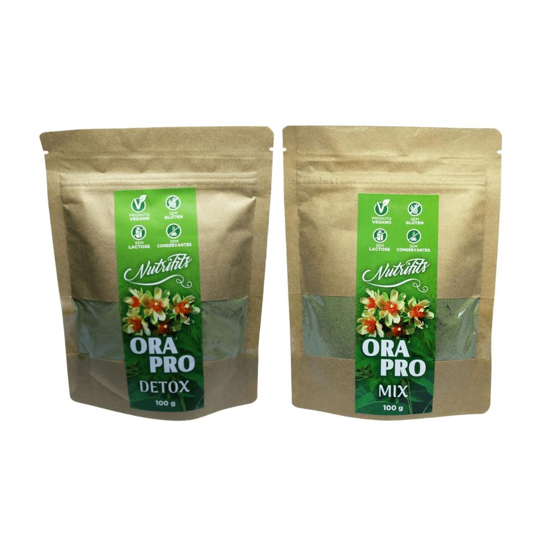 Ora-Pro-Nóbis em Pó Detox Maracujá Nutrifits 100g + Mix de Ora Kit com 2