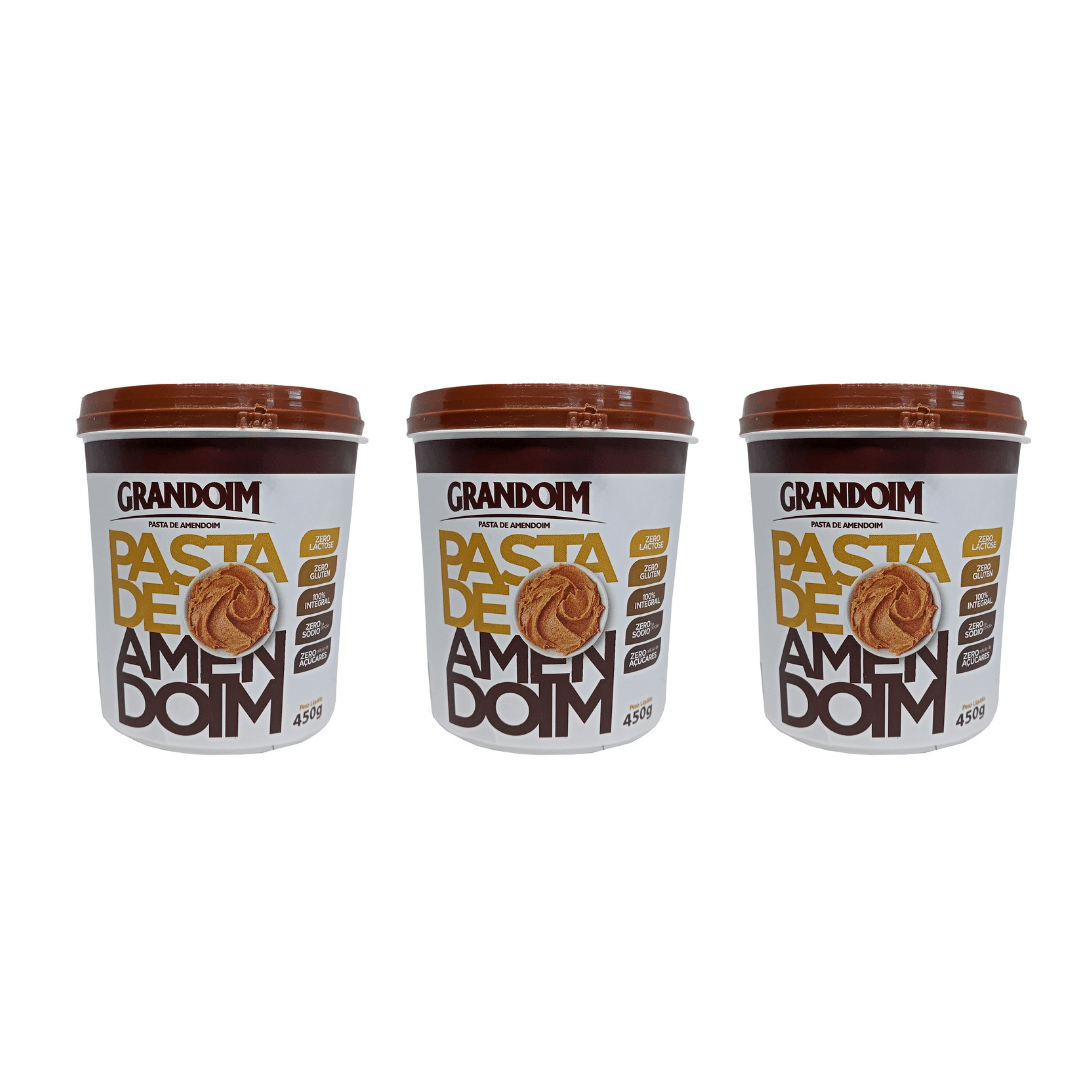 Pasta de Amendoim Integral  Sem Glúten 450g Grandoim  Kit com 3